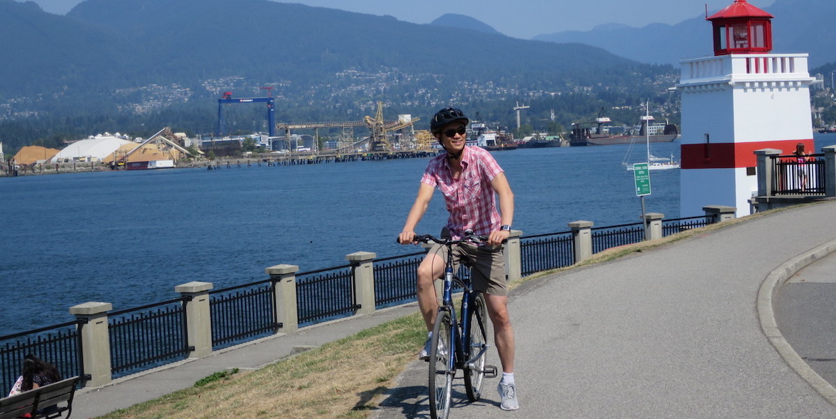Joseph biking in Vancouver