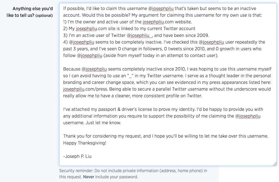 Twitter request details