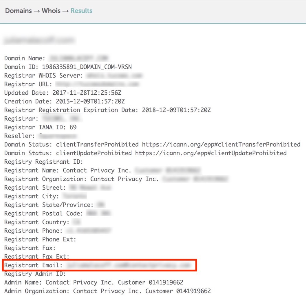 Namecheap WHOIS Lookup Example
