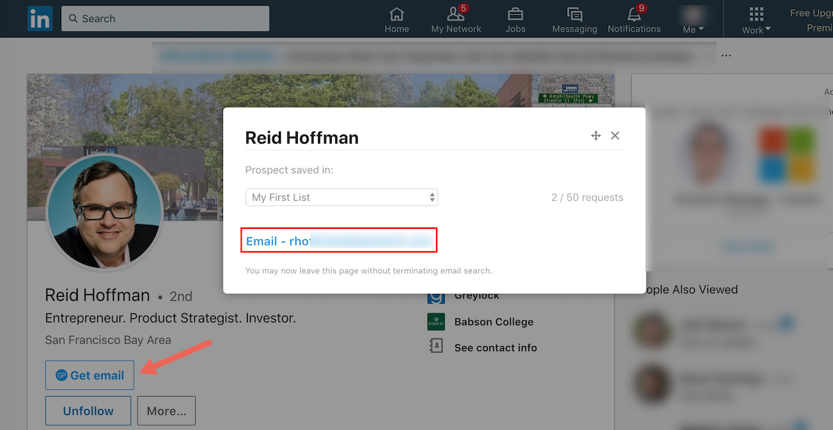GetProspect LinkedIn Screenshot