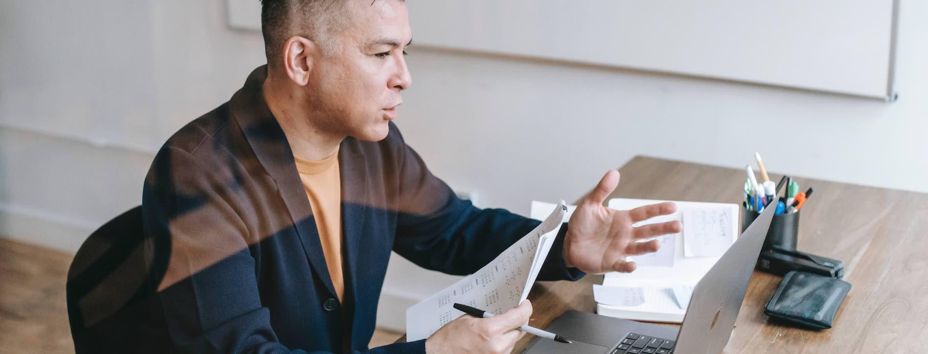 Man virtual interview